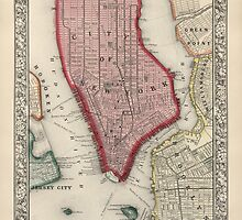 Antique Map of New York City from 1863 by bluemonocle