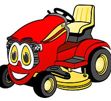Riding Lawn Mower Cartoon by Graphxpro