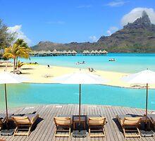 Beach Umbrellas - Bora Bora by Honor Kyne