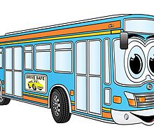 Blue City Bus Cartoon by Graphxpro