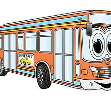 Orange City Bus Cartoon by Graphxpro