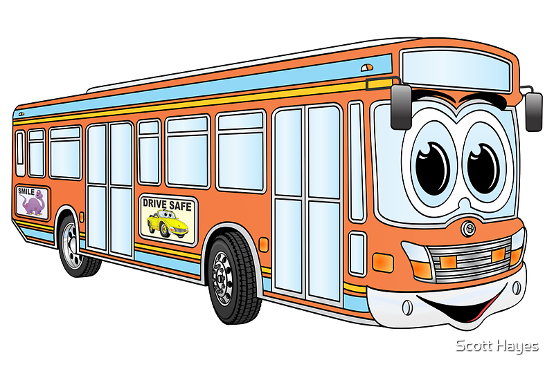 Orange City Bus Cartoon by Graphxpro
