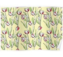 Seamless pattern with tulips Poster