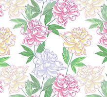 White Seamless pattern  with peonies by Natalia Piacheva