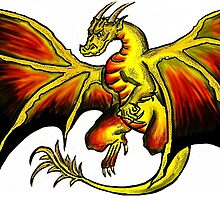 Colorful dark red yellow black dragon by artisticattitud