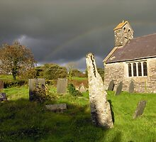 Nettasagrus Stone at the Church of St. David, Bridell, Wales by Kawka