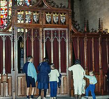 People waiting to go into the chapel Hotel de Dieu Beaune France 198404290025 by Fred Mitchell