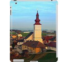 Village and church in warm sundown light | landscape photography iPad Case/Skin