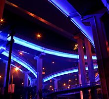 Night, Puxi Viaduct, Shanghai, China by DaveLambert