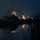 Dutch mills by night by hanspeters