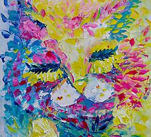 Pink Lemon Cat Painting Original Fine Art by Ekaterina Chernova by Ekaterina Chernova