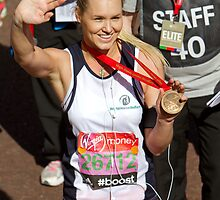 Amy Guy with her London Marathon medal by Keith Larby