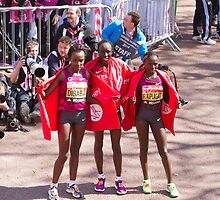 The Elite female winners of the London Marathon 2014  by Keith Larby