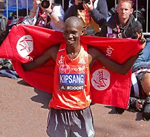 Wilson Kipsang after winning the London Marathon  by Keith Larby
