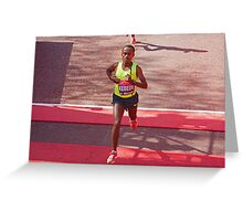 Kebede crosses the finish line of the London Marathon  Greeting Card