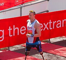 Richard Whitehead at the London Marathon finish line by Keith Larby