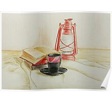Still life with red oil lamp Poster