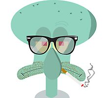 Hipster Squidward Photographic Print