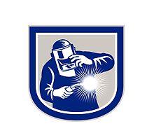 Welder Welding Torch Front Shield Retro  by patrimonio