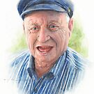 joyful grandfather watercolor by Mike Theuer