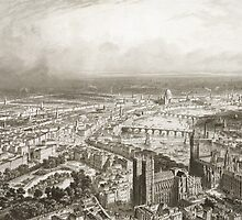 Bird's Eye View of London from Westminster Abbey by Bridgeman Art Library