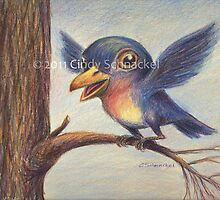 Bluebird; Drawing Day 2011, surreal bird by Cindy Schnackel