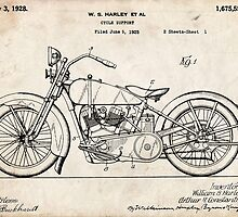 Harley Davidson Motorcycle US Patent Art 1928 by Steve Chambers