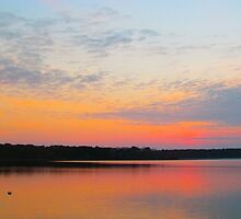Pink Sunset over Pond by GleaPhotography