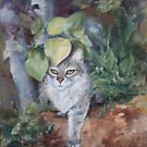Jungle Kitty in Alcohol Ink by Brenda Thour
