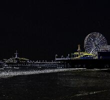 Pitch Black Neon Santa Monica Pier by stine1