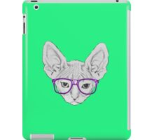 Geeky Nerdy Sphynx Cat with Taped Glasses iPad Case/Skin