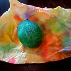 Cracked Teal Easter Egg by Nalinne Jones