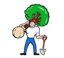 Gardener Arborist Carrying Tree Cartoon by patrimonio