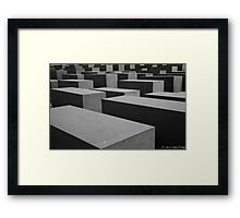 Black and white abstract check pattern Framed Print