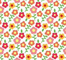 Pink and Orange Floral Pattern Red Floral Yellow Flowers by PatternPrint