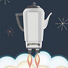 Retro sci fi coffee pot percolator rocket ship by BigMRanch