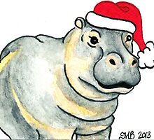 2013 Holiday ATC 17 - Ho Ho Ho Hippo by ArtbyMinda