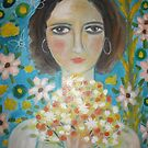 baby faced girl with flowers by catherine walker