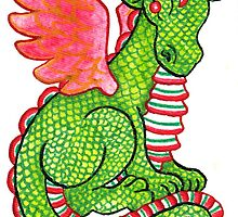 2013 Holiday ATC 23 - Red and Green Dragon by ArtbyMinda