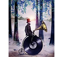 Music man in the forest Photographic Print