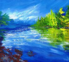 Blue River Painting Oil Art by Ekaterina Chernova by Ekaterina Chernova