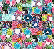 Tiled Randomized Jigsaw Spirograph Design by RachelEDesigns