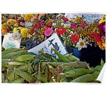 Fresh Flowers And Produce Poster