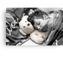 Beary Tired lill boy  Canvas Print