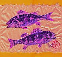 Gyotaku - Yellow Perch - Pink Fish by IslandFishPrint