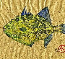 Gyotaku - Triggerfish - Queen Triggerfish by IslandFishPrint