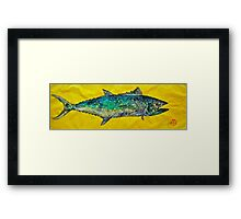 Gyotaku -Spanish Mackerel - Bright Yellow Framed Print