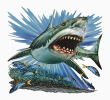 great white shark t-shirt design by R Christopher  Vest