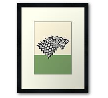 House Stark sigil - Dire Wolf on white and green Framed Print