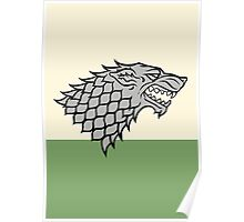 House Stark sigil - Dire Wolf on white and green Poster
